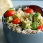 cold pasta salad in a gray bowl